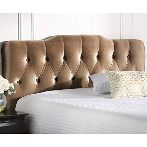 Upholstered Panel Headboard, Button Tufted Velvet Headboard, Accent Contemporary Bedroom Furniture (King, Gold)