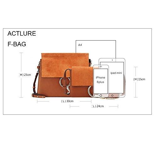 Leather Bag Genuine FY Grey Chain m Purse Shoulder Crossbody Women Link Actlure 1EzWUO6