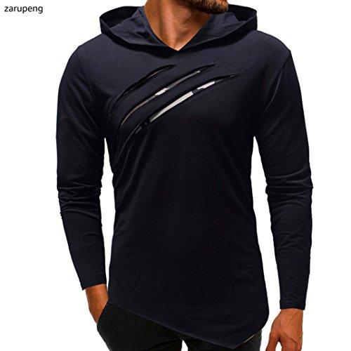 manga hombre invierno de capucha larga de con Camiseta en para e color otoño Armada sólido zarupeng HWq6AEn