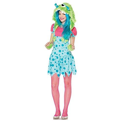 [GSG One-Eyed Erin Costume Teen Junior Tween Cute Furry Monster Halloween Dress] (Red Furry Monster Costume)