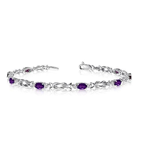 10k Amethyst Bracelet (1.84 Carat (ctw) 10K White Gold Oval Purple Amethyst and Diamond Interlocked Tennis Bracelet - 7