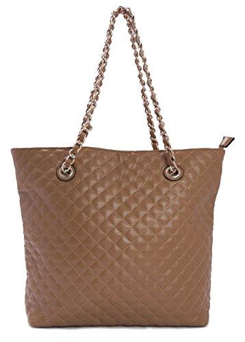 Big Handbag Shop Large Designer Quilted Soft Vegan Leather Shopper Tote Shoulder Bag (Tan) - Tan Quilted Bag