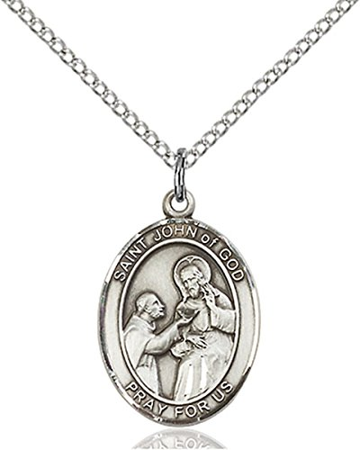 (Sterling Silver Saint John of God Medal Pendant, 3/4)