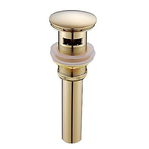 Leyden TM Bathroom Faucet Vessel Vanity Basin Pop Up Drain Stopper with Overflow, Polished Gold (Gold Bathroom Sink Stopper)