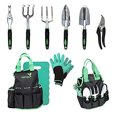 Tepual Garden 9 Piece Garden Tool Set | Gardening Tools Make The Perfect Gift for Women and Men | Comes With Convenient Garden Tool Bag And Knee Pad For Comfort | Includes a Free Pair Of Gloves