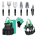 Tepual Garden 9-Piece Garden Tool Set | Gardening Tools Make The Perfect Gift for Women and Men | Comes With Convenient Garden Tool Bag And Knee Pad For Comfort | Includes a Free Pair Of Gloves
