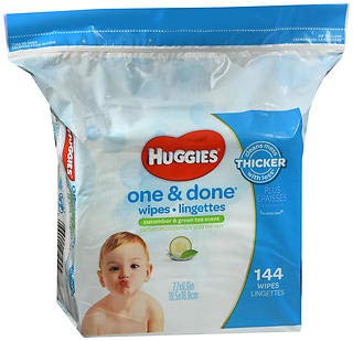 (Huggies One and Done Baby Wipes, Cucumber & Green Tea Scented, 144 Count Each (3 Pack))