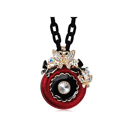 The Starry Night Red Hand Braided Round Pendant Diamond Accented Butterfly Sweet Flower Rope Sweater