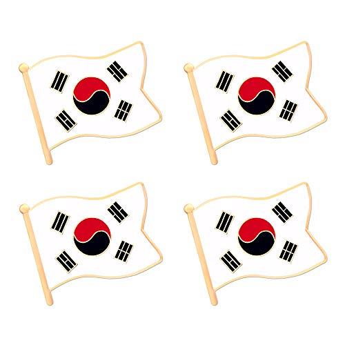 Korea Lapel Pin Flag - ALEY South Korea Korean Flag Lapel Pin Decorations (4 Pack)