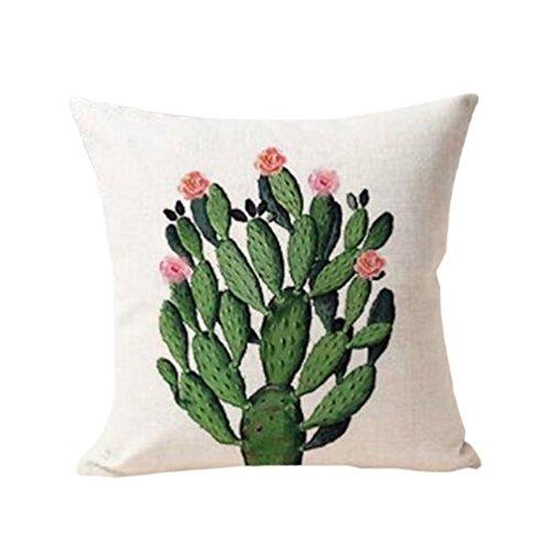 Polytree Linen Succulent Cactus Pattern Pillowcase Cushion Cover Home Sofa Decor,45cm x 45cm