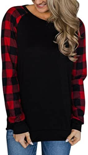 Kintaz Women's Long Sleeve Cotton Red Plaid Knitted Casual Tunic Sweatshirt Tops (Black, Size:S)