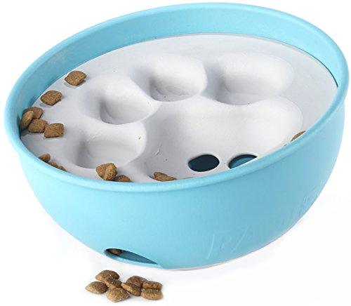 PAW5 Rock 'N Bowl Puzzle Feeder Dog Bowl - Fun Interactive Enrichment Dog Dish - Slow Feeder For Dogs - Stops Bloating - BPA and phthalate-free plastic Made in the USA
