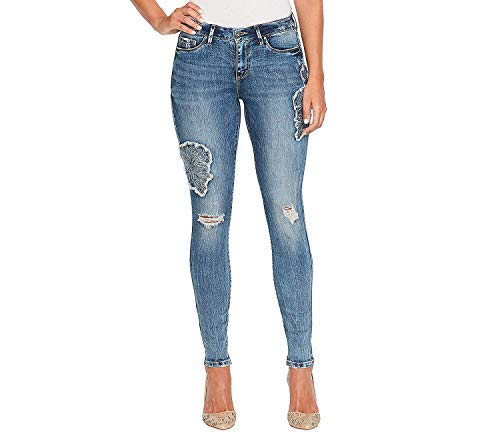 Jessica Simpson Kiss Me Skinny Embroidered Patches Jeans 32 ()