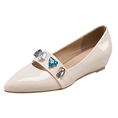 COOLCEPT Zapato Mujer Moda Medio Tacon de Cuna Heel Resplandecer Sin Cordones Court Zapatos En aumento Beige
