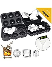 Lsnisni 3 Pack Silicone Ice Trays for Freezer With Lid, Sphere Ice Cube Tray, Large Square Ice Cube Tray, Honeycomb Ice Mold, Fun Shapes Ice Cube Tray, Reusable Ice Ball Mold for Whiskey