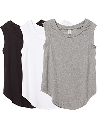 Alternative Women's The 3 Luxe Crew Cap Sleeve Shirt Set, Black/Grey/White, S (Cap Sleeve Ladies Apparel)