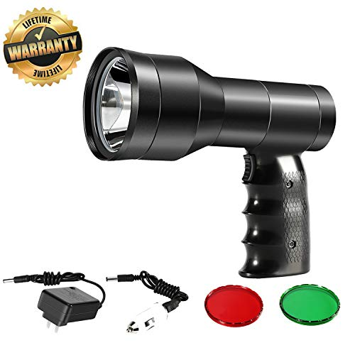 Hunting Spotlight Kit-Rechargeable Handheld Hunting Scan Light-LED White Light +Red Dot Sight For Aiming Targets + Red,Green Lens For Scanning Coyotes,Predators,Coons,Varmints,Hogs