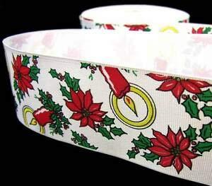 (5 Yd Christmas Discontinued Poinsettia Candles Grosgrain Ribbon 2 1/4