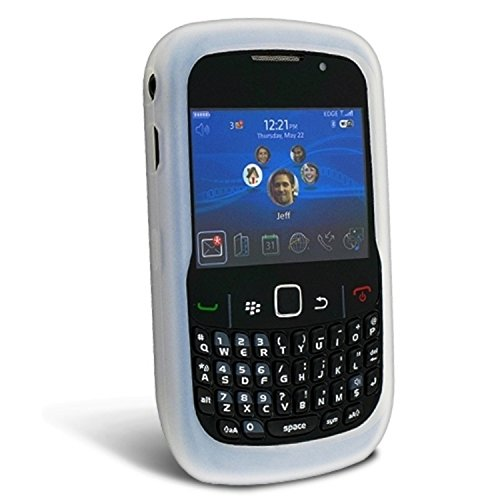 (White Soft Silicone Skin Cover Case with Clear Back for Blackberry Curve 8520 8530 Perfect for Picture)