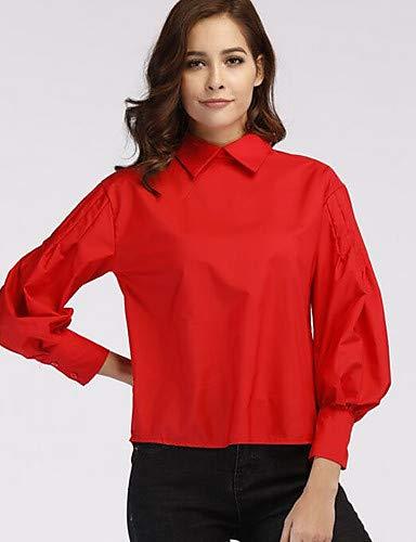 Red donna Camicia camicia unita collo in YFLTZ da tinta della ZUEqwzZS