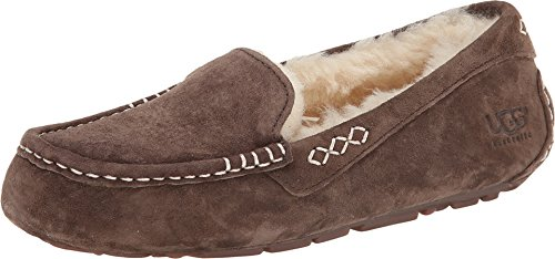 UGG Women's Ansley Moccasin, Chocolate, 9 B - Hearthside Womens Slippers