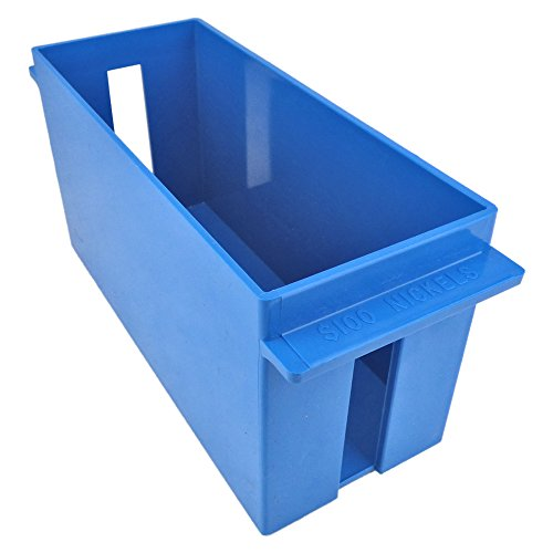 Extra-Capacity Rolled Coin Plastic Storage Tray, Nickels, Blue (2 Trays)