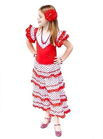 La Senorita Vestido Flamenco Español Traje de Flamenca chica/niños rojo blanco