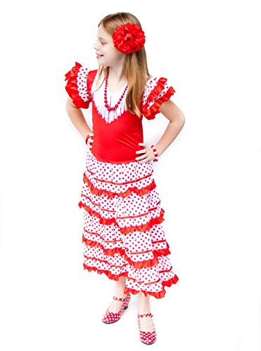 Childs Flamenco Dress (La Senorita Spanish Flamenco Dress Princess Costume - Girls / Kids - Red / White (Size 8 - 6-7 years, red white))