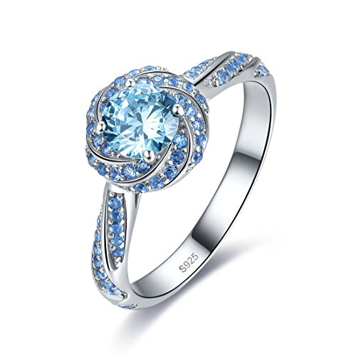 Merthus Womens 925 Sterling Silver Created Blue Topaz Swirl Solitaire Halo Engagement Promise - Stone Ring Swirl
