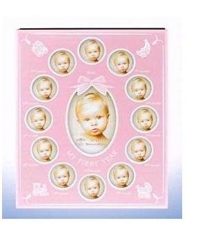 My First Year Baby Photo Frame Album Pink Holds 60 Photos In Gift