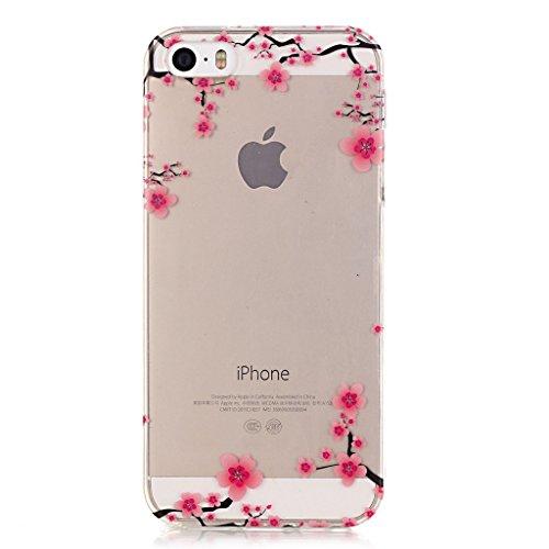 iPhone 5 5S SE Schutzhülle , LH Transparent Plum Blume TPU Weich Muschel Tasche Schutzhülle Silikon Hülle Schale Cover Case Gehäuse für Apple iPhone 5 5S SE