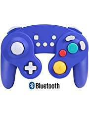 Exlene Wireless Controller Gamepad for Nintendo Switch, Rechargeable, Compatible with PC / PS3, GameCube Style, Motion Controls, Rumble, Turbo (Blue)
