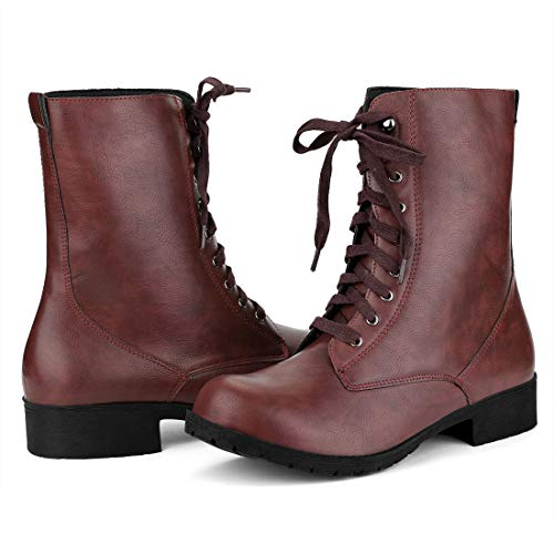 Allegra K Women's Round Toe Low Heel Mid Calf Lace Up Burgundy Combat Boots - 7 M -