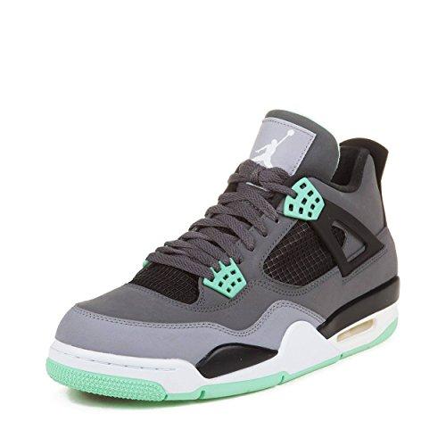 Jordan Nike Mens Air 4 Retro Dark Grey/Green Glow-Cement Grey Leather Basketball Shoes Size 10 (10 Grape Jordan Size)