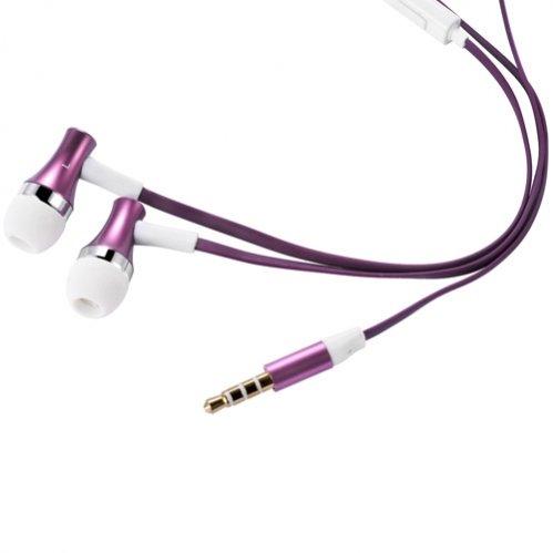 High Quality Bass Flat Wired Purple Metal Earbuds Handsfree Headset Earphones w Mic for Straight Talk LG Optimus ULTIMATE - Straight Talk Motorola Defy XT - Straight Talk Samsung Galaxy Precedent / Galaxy Proclaim