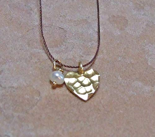 - 24k Gold Dipped Fine Silver Hammered Heart Pendant, White Baroque FW Pearl, Cord Necklace