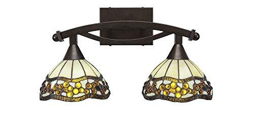 Toltec Lighting 172-BRZ-9975 Bow - Two Light Bath Bar, Bronze Finish with Roman Jewel Tiffany Glass