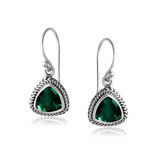 Sterling Silver Trillion Shape Earring with Green Quartz AE-6091-GQ ()