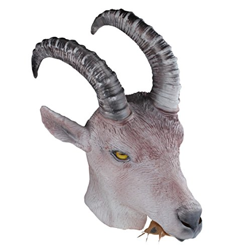 Latex Full Head Animal Goat Popular Farmyard Fancy Dress Up Carnival Party Mask (Antelope Goat Mask) Pink]()