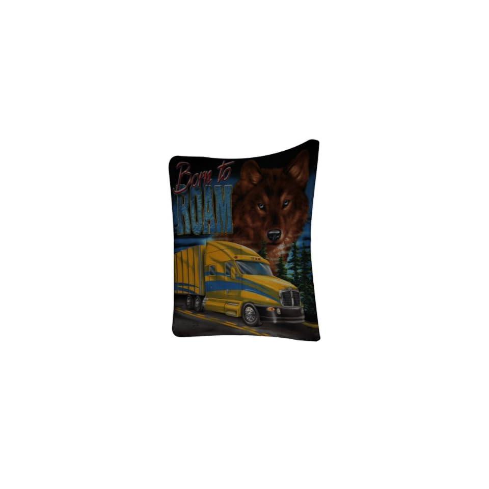 Brisco 50 x 60 Inch Born to Roam Wolf with Yellow Semi Truck Cab Soft Polar Fleece Blanket