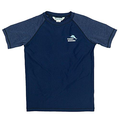 Tommy Bahama Boys Heathered Rash Guard Breathable Sun Protection Swim T-Shirt Navy and Beach Bag Large - Tommy Bahama Hawaiian Shirts