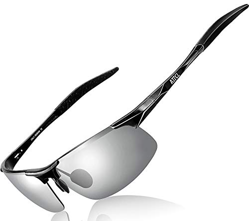 ATTCL Men's Fashion Driving Polarized Sports Sunglasses for Men Al-Mg metal Frame 8177-Black-Silver