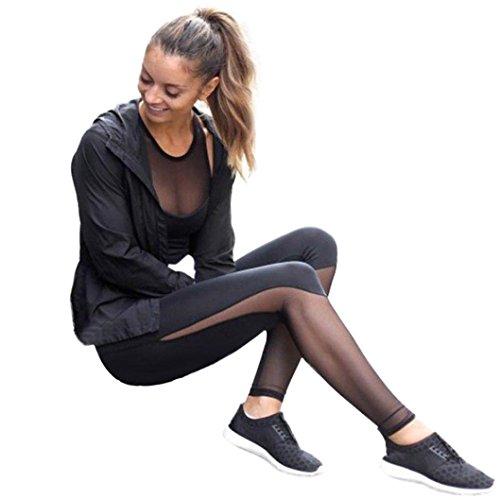 Pocciol Pants, Women Skinny High Waist Fitness Push up Mesh Patchwork Leggings (Black, L)