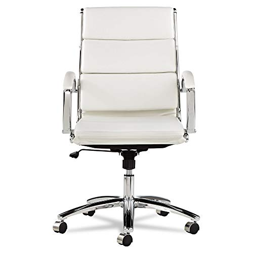 (Alera ALENR4206 Neratoli Mid-Back Swivel/Tilt Chair, White Faux Leather, Chrome Frame)