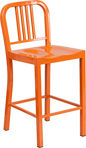 "Flash Furniture 24"" High Orange Metal Indoor-Outdoor Counter Height Stool Review"