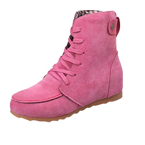 Women Flat Ankle Snow Motorcycle Boots Female Suede Leather Lace-Up by TOPUNDER