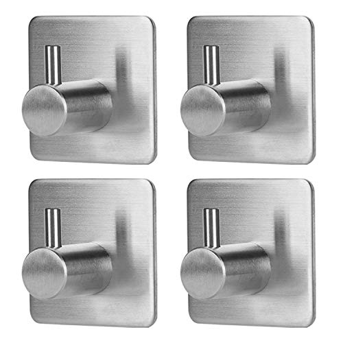 Towel Hooks Self Adhesive, Heavy Duty Coat Hooks with Stainless Steel Ultra Strong Waterproof for Bathroom Kitchen and Garage Organizer - (4 Pack)