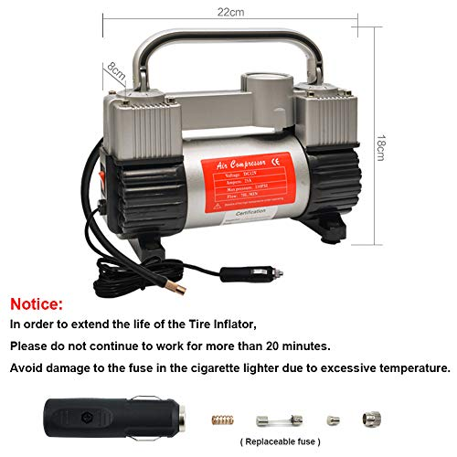 GSPSCN Inflator Heavy Duty Portable Bag Air Compressor with Adapter PSI for SUV Dinghy, Bed