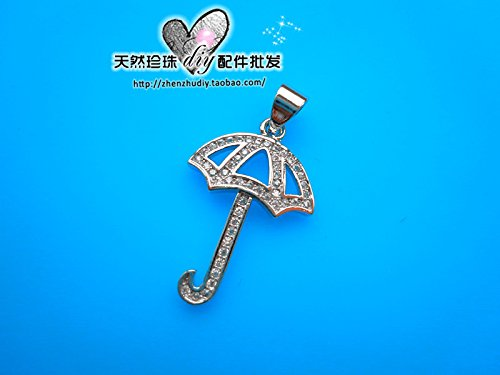 usongs Natural pearl necklace pendant agate crystal bracelet DIY anchor fitting 925 silver zircon necklace pendant genuine small umbrella