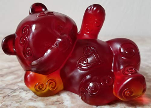 Fenton Reclining Bear - Sand Carved Red Solid Glass - Rosso USA - OOAK (Fenton Crystal Bear)